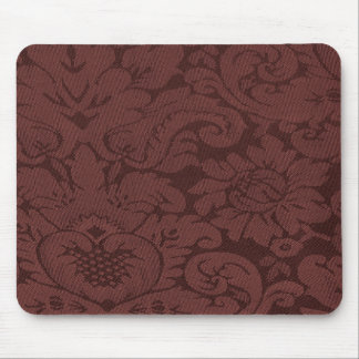 Red Wine Damask Weave Look Mouse Pad