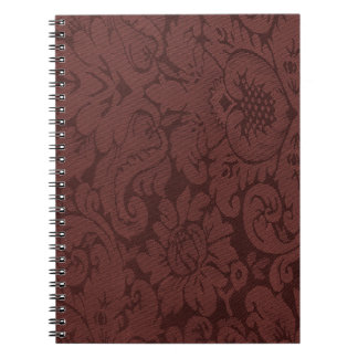 Red Wine Damask Weave Look Notebook