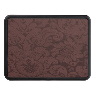 Red Wine Damask Weave Look Trailer Hitch Covers