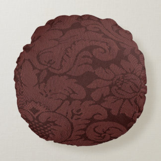 Red Wine Damask Weave Look Round Pillow