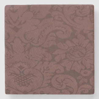 Red Wine Damask Weave Look Stone Coaster