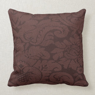 Red Wine Damask Weave Look Throw Pillow