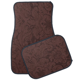 Red Wine Damask Weave Look Car Mat