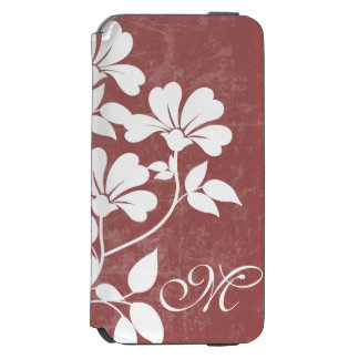 Red Wine Flower Initial Phone Folio Case