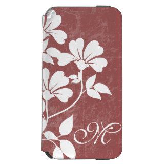 Red Wine Flower Initial Phone Folio Case