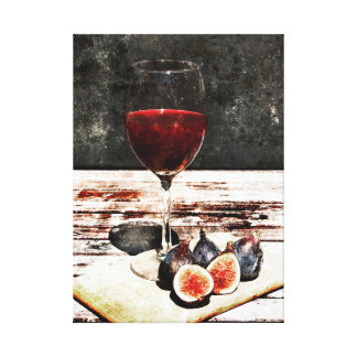 Red wine glass and figs still life canvas print