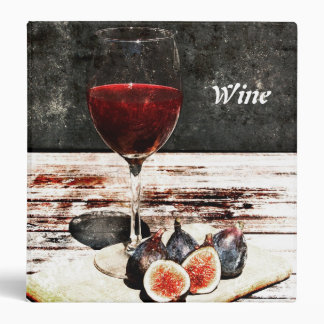Red wine glass and figs - wine 3 ring binder