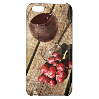 red wine glass and grapes case