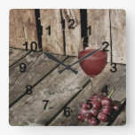Red Wine Glass And Grapes On Wood Texture Square Wall Clock at Zazzle