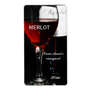 Red Wine glass and Merlot bottle Label