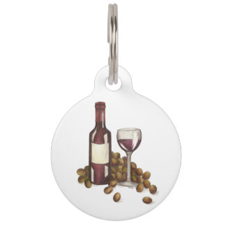 Red Wine Glass Bottle Grapes Winery Dog Pet Tag