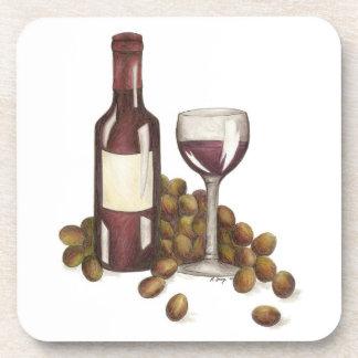 Red Wine Glass Bottle Winery Merlot Gift Coaster