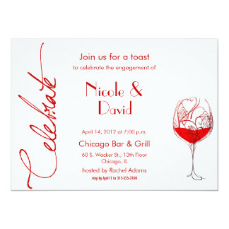 red wine glass engagement party invitation