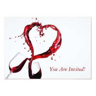 Red Wine Glass Invitation Card