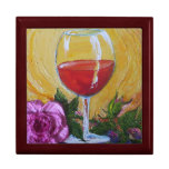 Red Wine Glass & Pink Rose Gift Box