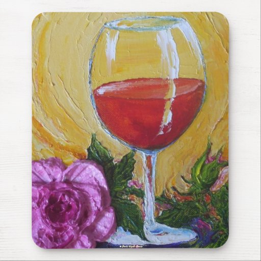 Red Wine Glass & Pink Rose Mouse Pad