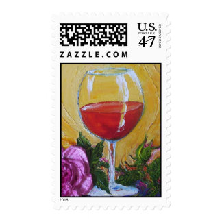 Red Wine Glass & Pink Rose Postage Stamp