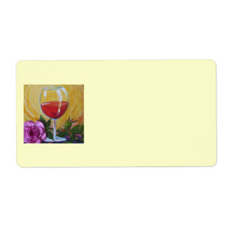 Red Wine Glass & Pink Rose Shipping Label