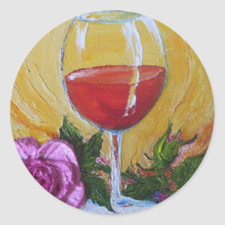 Red Wine Glass & Pink Rose Sticker