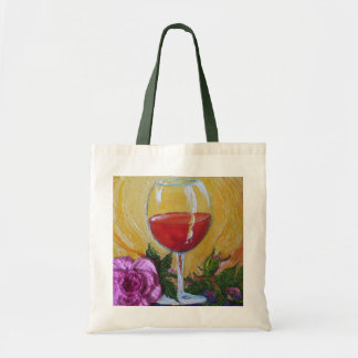 Red Wine Glass & Pink Rose Tote Bag