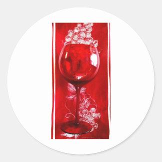 red wine glass PRINT Classic Round Sticker