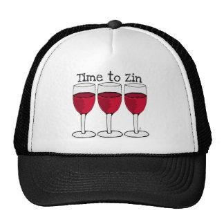 "RED WINE GLASS ""TIME TO ZIN"" FUN PRINT TRUCKER HAT"