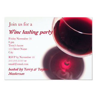 Red Wine Glass Wine Tasting Party Invite
