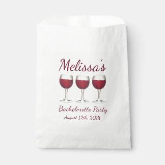 Red Wine Glasses Bachelorette Bridal Shower Party Favor Bag