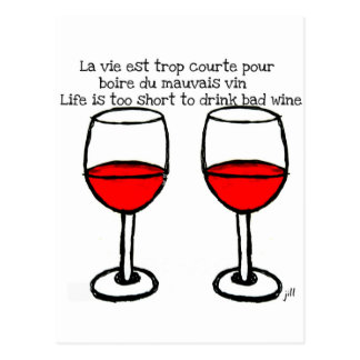 RED WINE GLASSES WITH FRENCH ENGLISH QUOTE POSTCARD