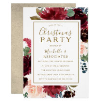 Red Wine & Gold Floral Frame Christmas Party Invitation