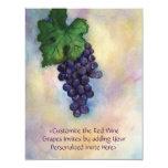 Red Wine Grapes Art Custom Invitations or Invites