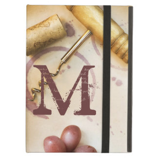 Red Wine Grapes Cork Monogram Initial IPAD Case