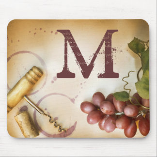 Red Wine Grapes Cork Monogram Initial Mouse Pad