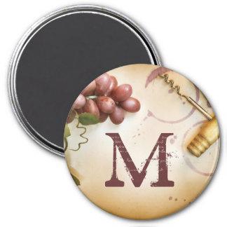 Red Wine Grapes Cork Screw Monogram Initial Magnet
