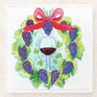 Red Wine Grapes Holiday Wreath with Wine Glass Glass Coaster