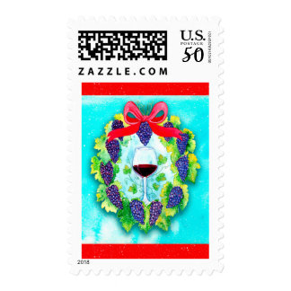 Red Wine Grapes Holiday Wreath with Wine Glass Postage