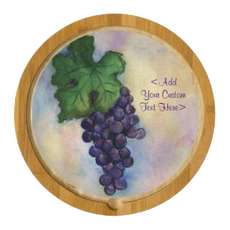 Red Wine Grapes Painting Custom Cheese Board Round Cheese Board