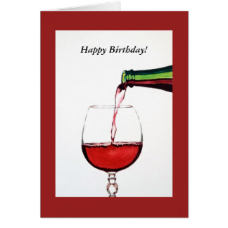 Red Wine Happy Birthday Card