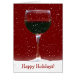 Red Wine Happy Holidays Card Greeting Card