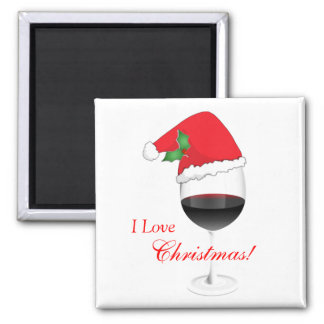 Red Wine Holly Santa Hat I Love Christmas Magnet