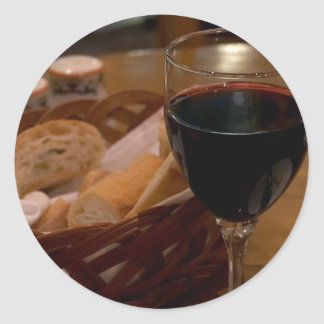 Red Wine In An Italian Restaurant Classic Round Sticker