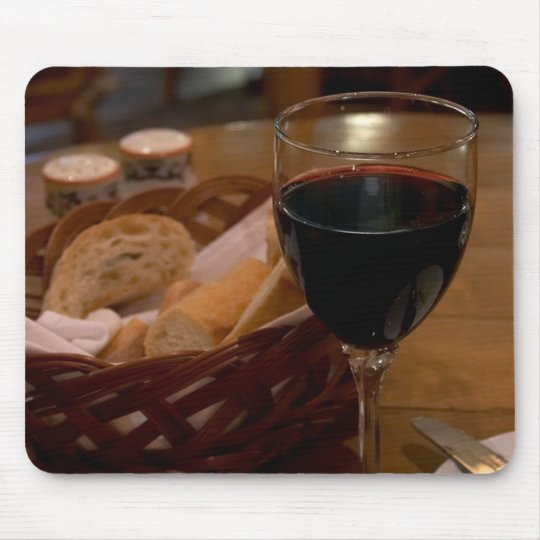Red Wine In An Italian Restaurant Mouse Pad