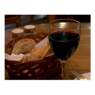 Red Wine In An Italian Restaurant Postcard