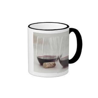 Red wine in stemless glasses ringer coffee mug