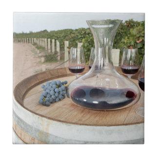 Red Wine In Vineyard Ceramic Tile