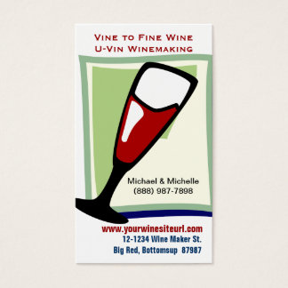 Red Wine in Wineglass for U-Vin or Winemaking Business Card