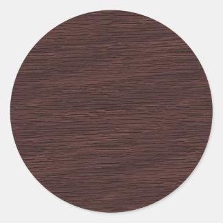 Red Wine Natural Oak Wood Grain Look Classic Round Sticker