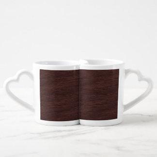 Red Wine Natural Oak Wood Grain Look Coffee Mug Set