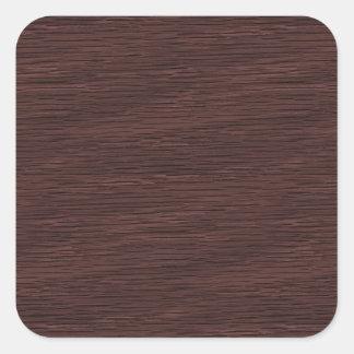Red Wine Natural Oak Wood Grain Look Square Sticker
