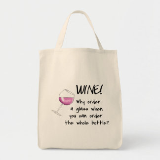 Red Wine Order Whole Bottle Funny Word Saying Tote Bag